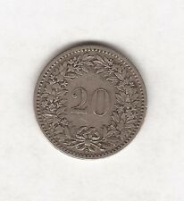 1884 SWITZERLAND HELVETICA 20 CENT COIN