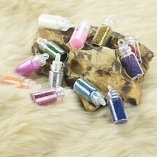 12 Mini Bottles Glitter Nail Art Powder Tips Rhinestone Decoration Manicure New