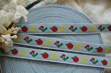 "1y VTG 1/2"" FRENCH BLUE FLOWER APPLES COTTON WOVEN JACQUARD NOVELTY RIBBON TRIM"