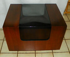 Walnut Mid Century Glass Top End Table / Side Table by Lane