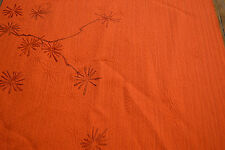 Japanese Vintage Silk Orange with embossed Pine Needles and Branches 667r
