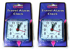 2 x SMALL LITTLE QUARTZ CLOCK TRAVEL ALARM CLOCKS - AA BATTERY OPERATED