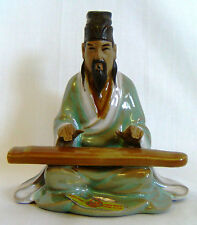 "CHINESE SHIWAN MUDMAN CERAMIC FIGURE / ORNAMENT - MAN WITH INSTRUMENT - 4"" TALL"