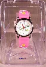 CHILDRENS TIME TEACHING WRISTWATCH - KITTENS AND FLOWER DESIGN  (W4)