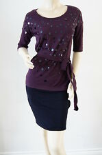 TOPSHOP Stunning Berry Sequin Embellished Tie Waist Top Dress Size 8 NEW E6