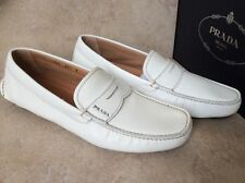 New Prada Mens White Saffiano Penny Driving Shoes. Sz.8 Prada. Org.$ 550