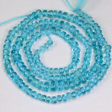 3.5mm-6mm Neon Blue Apatite Smooth Rondelle Beads 18 inch Strand