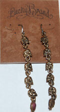 NWT Lucky Brand Antiqued Gold Metal & Pink Stones Dangling Skull Drop Earrings