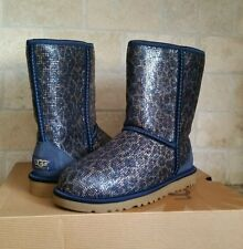 UGG Womens Classic Short Boots Glitter Leopard Navy Blue Size US 6 NEW! 1006883