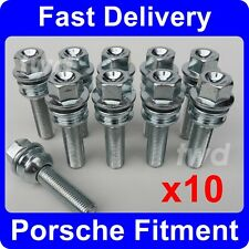 10 x  EXTRA LONG 45MM WHEEL BOLTS FOR PORSCHE 911 / 996 / 997 WITH SPACERS [O5]