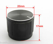 5pcs 20x17mm Black Circular Knob Aluminium Cover for Audio Volume Tone Control