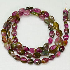 Watermelon Tourmaline Smooth oval nugget Bead 15.5 inch strand