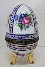 Ei Schmuckdose Dose Porzellan Limoges Rosen Hand gemalt Frankreich H10,5cm