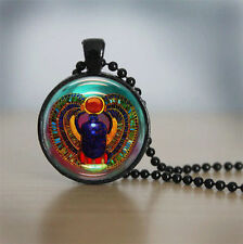 Egyptian style Cabochon Black Vintage Glass Chain Pendant Necklace