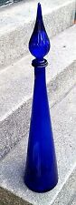 VINTAGE 1960'S LARGE COBALT BLUE GENIE BOTTLE WITH TEARDROP STOPPER ITALIAN MINT