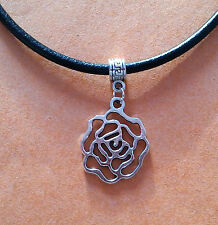 Black Leather Choker Necklace with Silver Rose Flower Charm - New - UK Seller