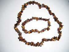 Tiger's Eye chip necklace and bracelet set