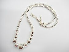 """Genuine Sterling Silver Graduated Ball Chain Necklace 17"""" #1406"""