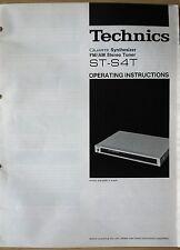 TECHNICS, Sintetizzatore al quarzo, FM/AM Stereo Tuner, ST-s4t, istruzioni operative