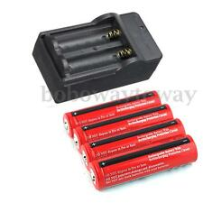 4Pcs 3.7V 18650 3800mAh Rechargeable Li-ion Batterie Pile Battery + Chargeur