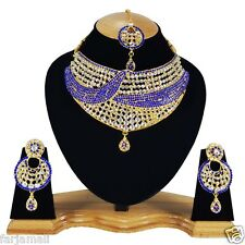 Fancy Partywear Zerconic Kundan Style  Awesome Necklace Set Earrings TIkka