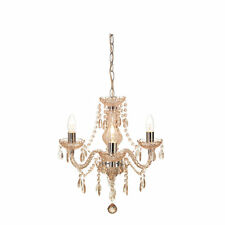 Shabby Chic 3 Light Fitting Ceiling Chandelier Champagne Crystal Marie Therese