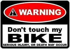2 x Warning dont touch my bike decal sticker Motorbike Scooter Motorcycle