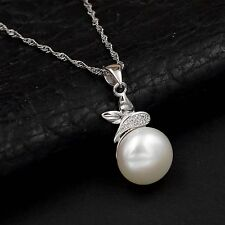 11 mm White Freshwater Pearl CZ 925 Sterling Silver Pendant Chain Necklace 00363