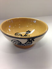 Small pottery bowl with rooster decor
