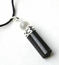 REIKI ENERGY CHARGED BLACK TOURMALINE CRYSTAL PENDANT WITH CLEAR QUARTZ SPHERE
