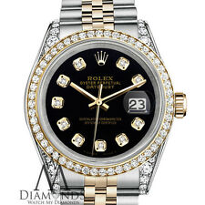 Rolex Stainless Steel and Gold 36 mm Datejust Watch Black Color Diamond Dial