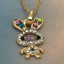 Cute Bunny Rabbit New Rose Gold Jewelry Austrian Crystal Necklace