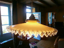 French vintage antique coolie light shade, frilly white milk glass Art Deco
