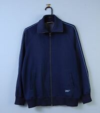Mens 90s Vintage Asics Track Top Navy Blue Sport Jacket Classic Fit Large