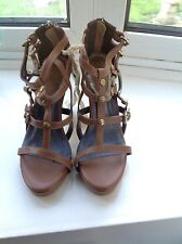 Love from Australia designer Women Strappy Brown Leather Heels.New size 5UK/38EU