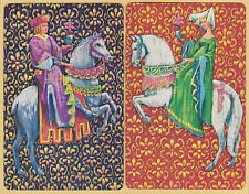 2 Single VINTAGE Swap/Playing Cards MEDIEVAL GENT LADY HORSE 'CAMELOT'