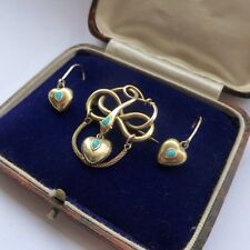 RARE ANTIQUE VICTORIAN 18CT GOLD SNAKE & HEART BROOCH & EARRINGS HAIR MOURNING