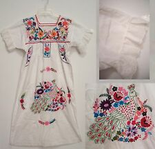 Vtg EMBROIDERED Mexican Hippie Peasant FESTIVAL Dress EYELET RUFFLE Sleeves S