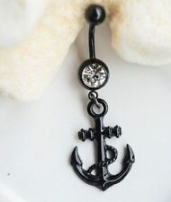 Black Anchor belly ring navel 14G dangle charm nautical clear gem
