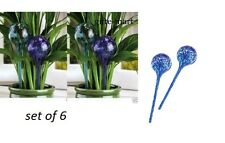6 blue Glass Globe ball Vacation hanging Plant water automatic Watering Stake
