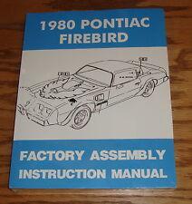 1980 Pontiac Firebird Factory Assembly Instruction Manual 80