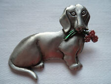 """Vintage Signed JJ """"Silver pewter Dachshund holding Flowers"""" Brooch/Pin"""
