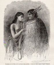 CHEF HEKE ET SA FEMME CHIEF AND HIS WIFE MAORI NEW ZEALAND IMAGE 1865 OLD PRINT