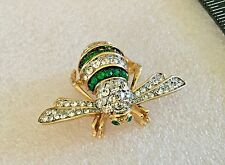 JOAN RIVERS GREEN & CLEAR PAVE RHINESTONE BIG BUMBLE BEE BUG BROOCH PIN RETIRED