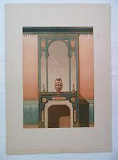 ANCIENNE CHROMO 1880 / MODELES DE TENTURES / CHEMINEE GENRE MAURESQUE / PL20