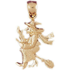 NEW 14k YELLOW GOLD WITCH HALLOWEEN CHARM PENDANT JEWELRY