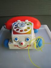 1985 Vintage Fisher Price Chatter Phone Rotary Telephone Pull Toy # 747