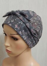 Grey cancer head scarf, chemotherapy bonnet, chemo hair loss cap, alopecia hat