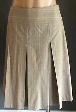 Pre-owned CUE A-Line Pleated Beige & Purple Check Skirt Size 10