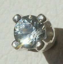 Natural Glacier Blue Montana Sapphire 3mm Round .925 Sterling Silver Tie Tack